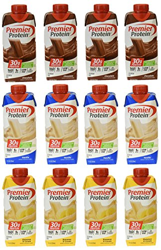 Premier Protein 30g Protein Shakes,   Contains 4 Chocolate 4 Vanilla 4 Bannas& Cream - 11 fluid oz high protein shakes