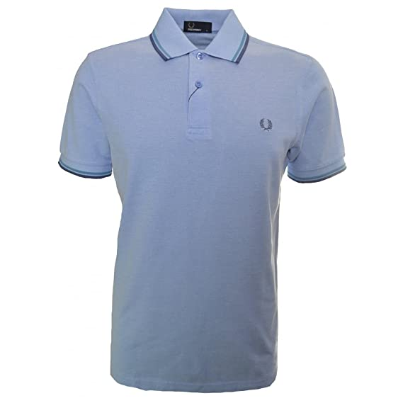 4eaecbafa Fred Perry M1200 Twin Tipped polo Oxford Light Smoke Blue Navy ...