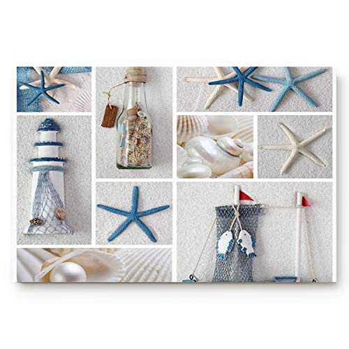Infinidesign Doormat Absorbs Mud Durable Anti-Slip Low Profile Entrance Bath Rugs Nautical Marine Lighthouse Sail Boat Beach Starfish Shell Sea Life,Large 18