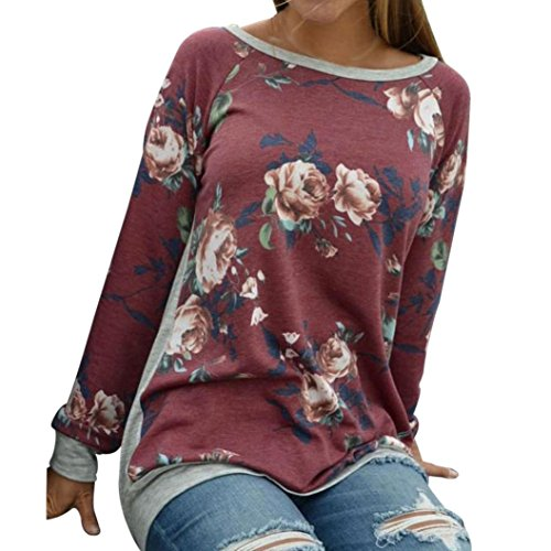 Price comparison product image Women Autumn Long Sleeve Floral Printing Shirt Multicolor Round-Neck Casual Blouse Tops by XILALU (US 16, Red)