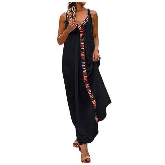 Amazon.com: Vestido maxi de lino y algodón con estampado ...