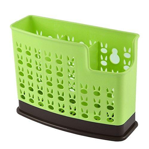 eDealMax plastique 3 compartiments de cuisine Chopsticks panier Organisateur Bote de rangement vert