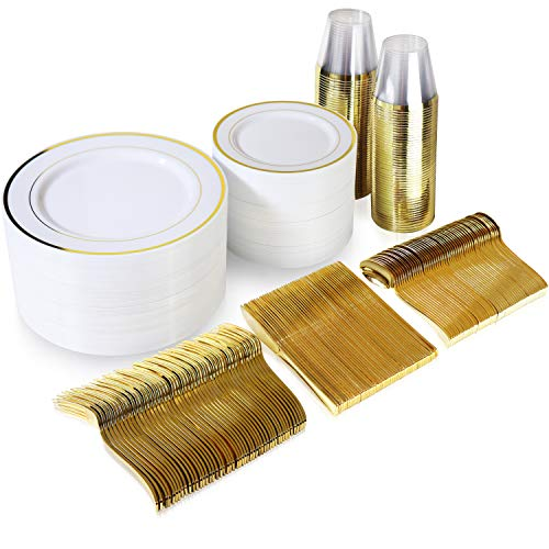 600 Piece Gold Dinnerware Set - 200 White and Gold Plastic Plates - Set of 300 Gold Plastic Silverware - 100 Gold Plastic Cups - Disposable Gold Dinnerware Set for Party or Wedding up to 100 Guests