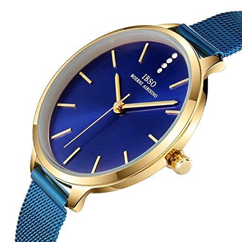 Women Three-Hand Leather Strap Round Watch Fashion Simple Ultra-Thin Quartz Analog Wristwatch (6603 Blue SS)