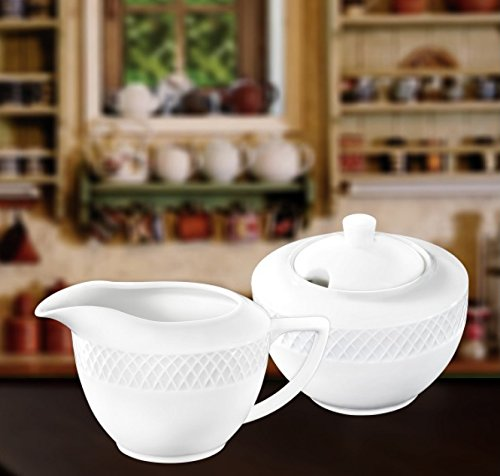 China Porcelain Sugar Bowl (Wilmax WL-880112, Julia Collection Classic White Porcelain 11 oz. Sugar Bowl and 9 oz. Creamer Set for Coffee and Tea, European Bone China Sugar Pot with Milk Cream Pitcher, Gift Box, 2-Piece Set)