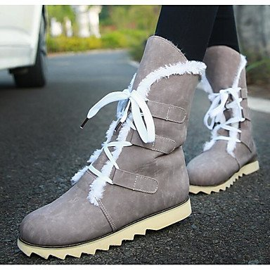 3 amp;xuezi Yellow Comfort Gll Microfiber Casual Fall Black PU almond Boots Women's Coffee 2 Almond 2in Synthetic Winter 4in wRRdqax4