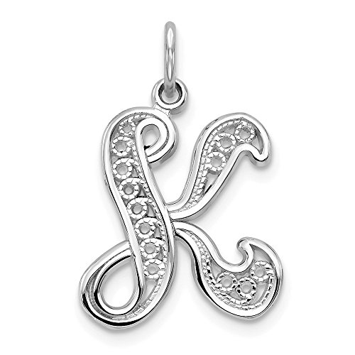 14k White Gold Solid Filigree Initial Monogram Name Letter K Pendant Charm Necklace Fine Jewelry Gifts For Women For Her