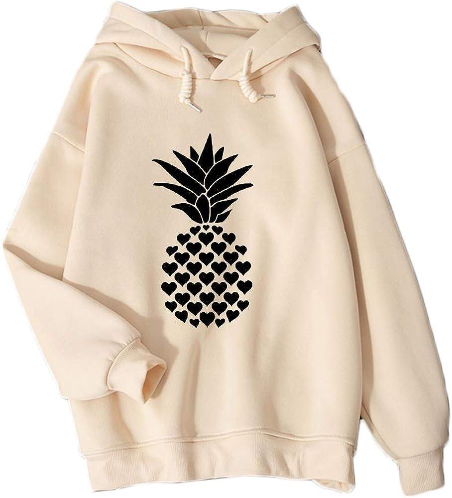 Winter Punk Streetwear Hip Hop Sweatshirts Ladies Kpop Harajuku Hoodies Women Pineapple Printed Heart-Shaped Cute Creative