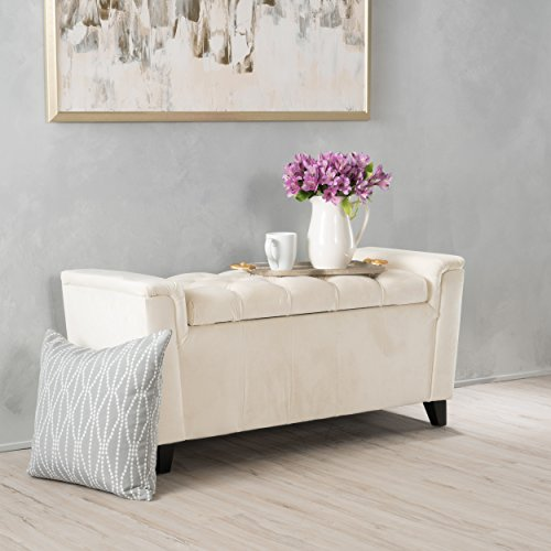 Perris Ivory New Velvet Armed Storage Bench