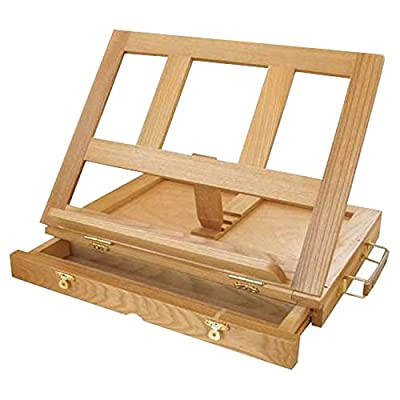 Strokes Art Supplies Artistic Wooden Desk Easel W13 inch H10 inch D2 inch With Drawer Includes Free Wooden Palette by Strokes Art Supplies