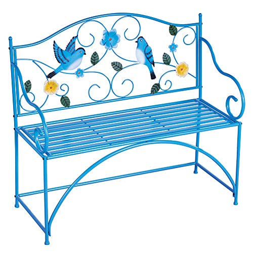 (Collections Etc Blue Bird Metal Scrolling Garden Bench - Perfect Decorative Accent for Yard, Porch, and Garden)