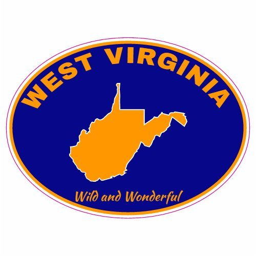 U.S. Custom Stickers West Virginia Wild and Wonderful Navy Blue Oval Decal, 3
