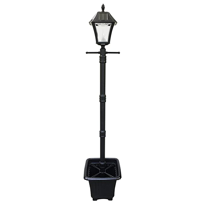 Amazon com gama sonic gs 105plsg baytown ii resin dual led color solar powered lamp post with ez anchor and planter base black large garden outdoor