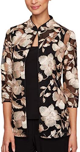 Alex Evenings Women's Plus Size Jacket and Scoop Tank Top Twinset