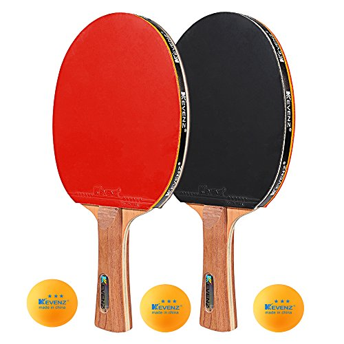 KEVENZ Professional Table Tennis Rackets,Patent Ping Pong Paddles with Long Handle,Family Ping Pong Racket (Red & Black)