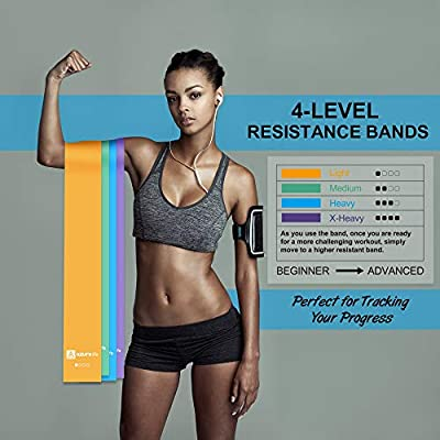 Azure Life Resistance Bands Set, 4 Pack Professional Non-Latex 5 ft. Long Elastic Stretch Bands, 4 Color-Coded Progressive Exercise Bands for Physical Therapy, Yoga, Pilates, Rehab, Home Workout