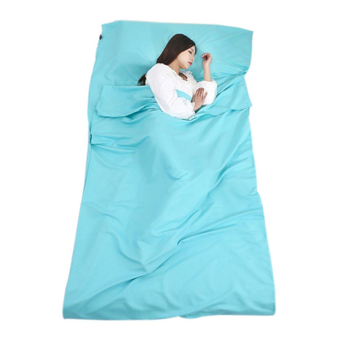 "enerhu Sleepingバッグライナーホテル大人用シート軽量ポータブル旅行キャンプ睡眠袋シングルダブルサイズ 115*210cm/45*83"" SINGLE MA0554-4-1S/QLUSFBA B07BLQHR4Y 115*210cm/45*83"" SINGLE,4# Blue"