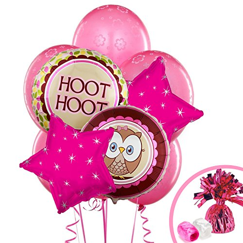 1st Birthday Owl Party Look Whoo's 1 Pink Balloon -