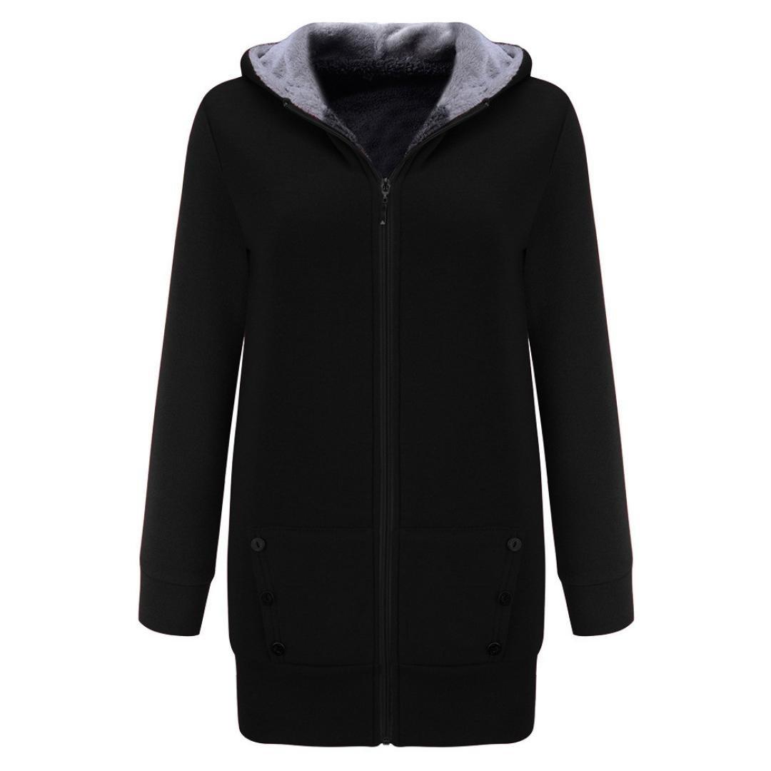Gotd Women Winter Warm Velvet Thicker Long Coat Hoodie Jacket Outwear Sweatshirt Overcoat Plus Size Oversize (3XL, Black)