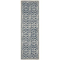 "Safavieh Cambridge Collection CAM123G Handcrafted Moroccan Geometric Navy Blue and Ivory Premium Wool Runner (2'6"" x 12')"