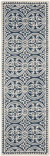 Navy Wool Runner Rug - Safavieh Cambridge Collection CAM123G Handcrafted Moroccan Geometric Navy Blue and Ivory Premium Wool Runner (2'6