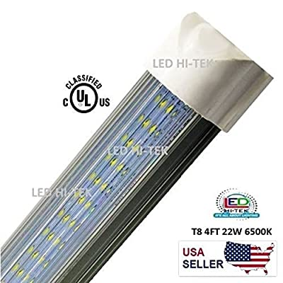 20 Pcs, Led Tube Light, 4ft ,integrated, 22w, 6000k, Striped/clear/milky