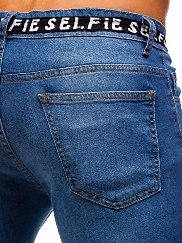 Con Uomo Imitazione Stile 6f6 Jeans Bolf Stemma Moda Azzurro Da Nastro Cerniera Street Di Coulisse Della Decorativo Sovraimpunture Jogger Ombreggiature E6gITq