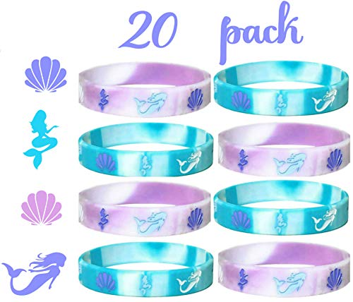 20 pcs mermaid party favors wristband, under the sea party favors, birthday jewelry toy party supplies cute pinata filler halloween. (mermaid, kids) ()