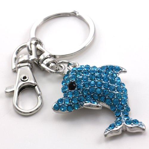 Cute Aqua Blue Dolphin Animal Lover Keychain Key Ring Charm