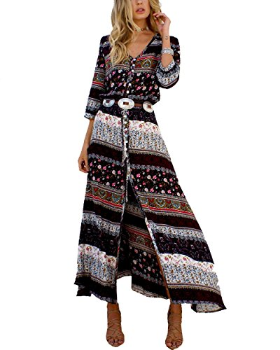 MorySong Sexy Women Boho V-neck Floral Print Split - Womens Brown Western Dress