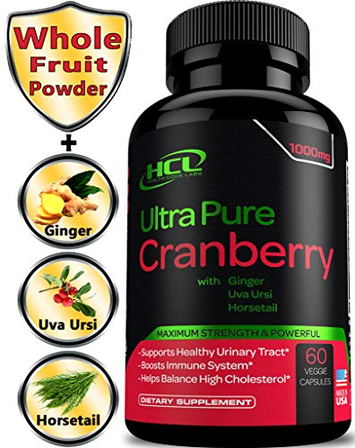 Cheap Cranberry Pills Super Strength 1000mg Whole Fruit Dried Cranberries Capsules Plus Vitamins C E & Blend of Ginger Uva Ursi Horsetail for Natural Urinary Tract Infection UTI Support Immune Boost Detox