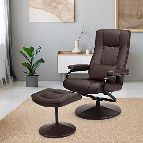 Giantex Massage Recliner Chair w/Ottoman, 360 Degree Swivel PU Leather Chair w/Footrest, Lounge Armchair w/Overstuffed Padded Seat and Leather Wrapped Base, for Home Office Living Room(Brown)