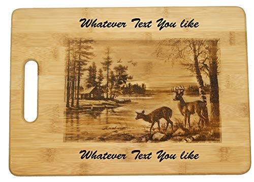 (Two Whitetail Deer and Wildlife Scene on a Custom Cutting Board Personalized Monogram Cutting Boards Great Gifts for Wedding, Couples, Parents, and Anniversary Gift (Large 13 3/4 x 9 3/4)