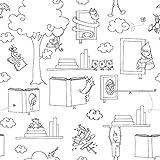 Papel de Parede Infantil Para Colorir Bobinex Uau Preto/Branco