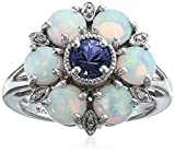 Sterling Silver Tanzanite, Created Opal, and Diamond Cluster Ring, Size 7