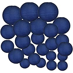 Just Artifacts Decorative Round Chinese Paper Lanterns 24pcs Assorted Sizes (Color: Navy Blue)