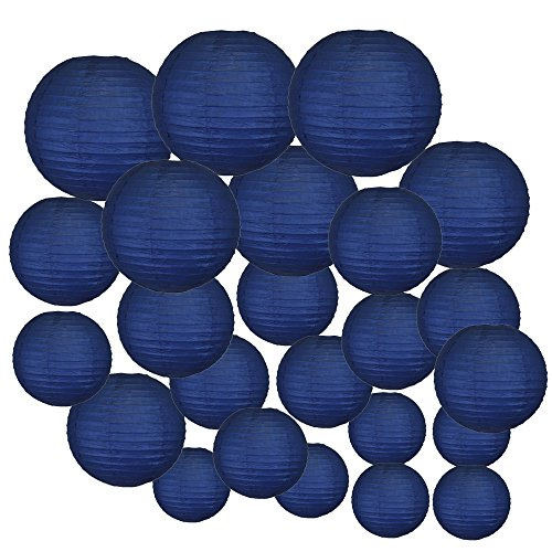 Just Artifacts Decorative Round Chinese Paper Lanterns 24pcs Assorted Sizes (Color: Navy Blue) (Cheap Paper Bulk Lanterns)
