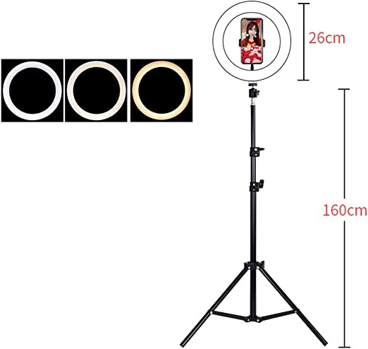 Live Stream 3 Modes LED Ring Light with Phone Holder for Vlogs JIAX 10 Selfie Ring Light with Adjustable Tripod Stand Phone,YouTube,Self Portrait Shooting