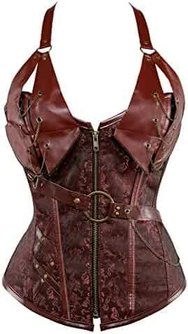 67a1cbe16 Women s Punk Rock Faux Leather Corset Bustier Basque Waist Cincher Bustier  Lingerie