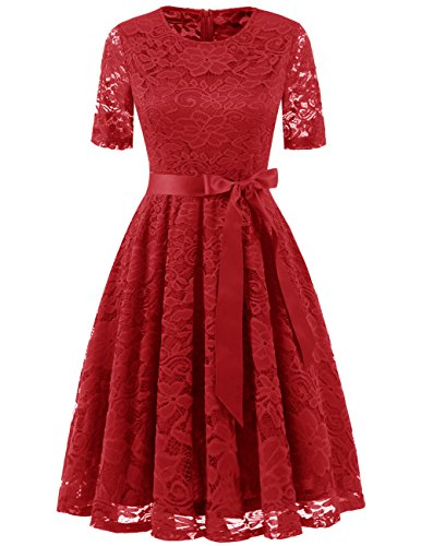 DRESSTELLS Short Bridesmaid Scoop Floral Lace Dress Cocktail Formal Party Dress Red XL