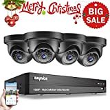 SANNCE 1080P HD Realtime Security Camera System All-in-One 4 Channel DVR Recorder w/ 4pcs 1920*1080P 2.0MP Weatherproof Security Dome Cameras, Home Surveillance Camera System Over Analog/BNC, Customize Motion Detection, 85ft Night Vision (No Hard Drive)