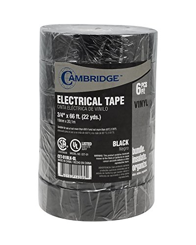 Cambridge Black Vinyl Electrical Tape 3/4 Inch x 66 Feet per roll. Premium Quality. Contractor/Professional pack 6 Rolls, 396 Feet (132 Yards) Total.