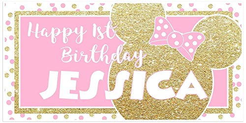 (Minnie Pink and Gold Glitter Birthday Banner Personalized Party Decoration Backdrop)