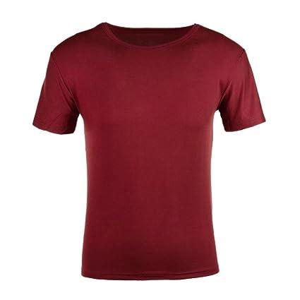 Everpert - Camiseta de manga corta para hombre, cuello redondo, Blue, XXXL, XXXL