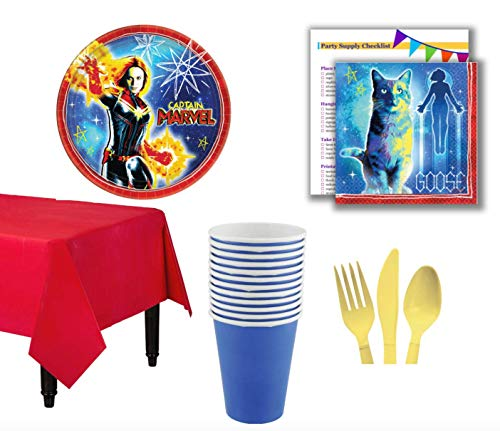 Captain Marvel Birthday Party Pack for 16 Guests   Includes High Quality Plates, Napkins, Tableware, Beverage Cups, and Plastic Table Cover Just add -