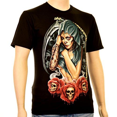 Santa Muerte with Sense - Rock Eagle T-Shirt Catrina Doña Sebastiana