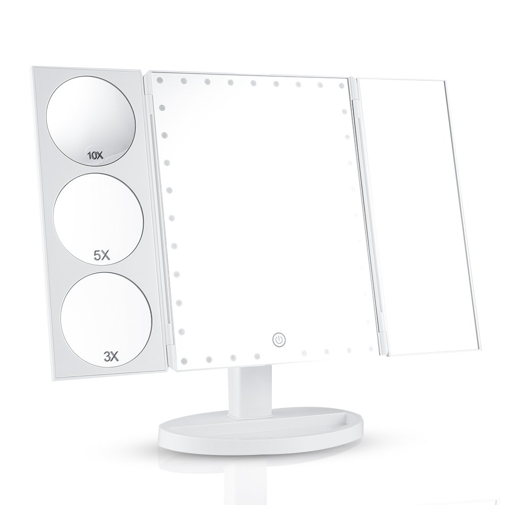 Easehold 35 LED Lighted Vanity Makeup Mirror Tri-Fold with 3X 5X 10X Magnifiers 360 Degree Free Rotation Countertop Bathroom Cosmetic Mirror (Black) DJZ010BL