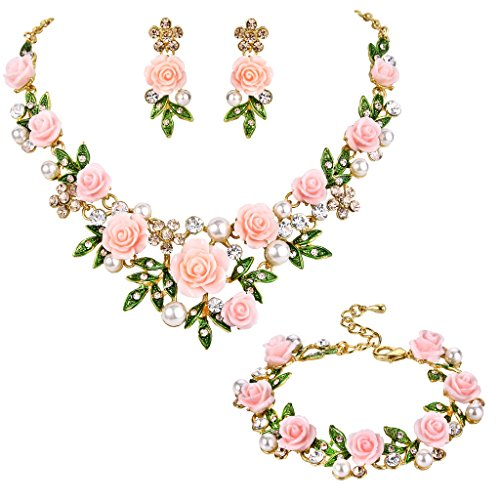 EVER FAITH Crystal Simulated Pearl Rose Flower Leaf Necklace Earrings Bracelet Set Light Pink Gold-Tone -