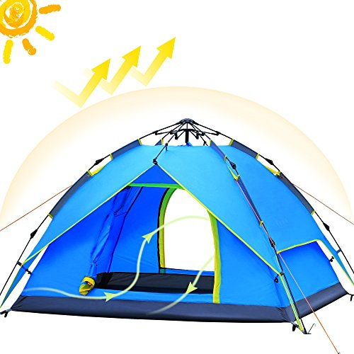 Camping-Tents-3-4-Person-2-Doors-Easy-Pop-Up-AYAMAYA-Waterproof-Double-Layer-Quick-Setup-Hydraulic-Automatic-Family-Beach-Dome-Tent-UV-Protection-with-Carry-Bag-for-Hiking-Picnic-Backpacking