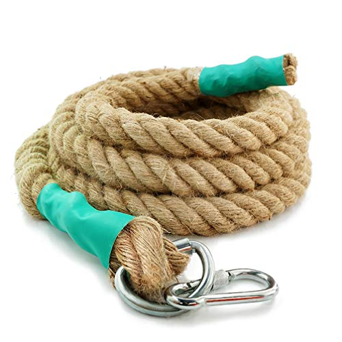Aoneky Gym Climbing Rope (Brown, 1.18'' x 10 ft)